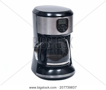 Black electric domestic coffee maker with clock and timer isolated on white background