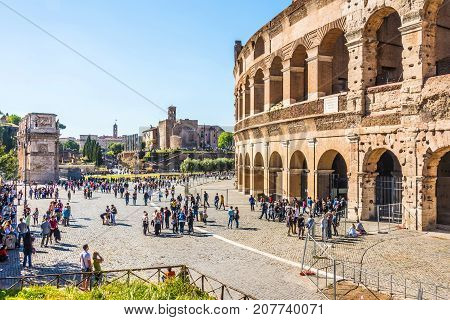 ROME ITALY - APRIL 24 2017. Side view of The Colosseum in a sunny spring day.