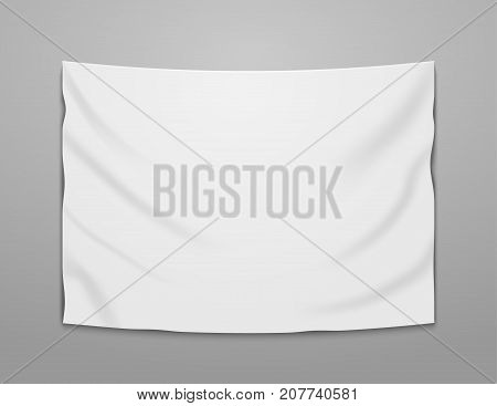 White blank vector banner textile. Empty hanging fabric banner illustration design.