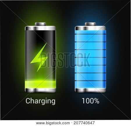 Battery charge energy power icon. Vector battery recharge design technology.