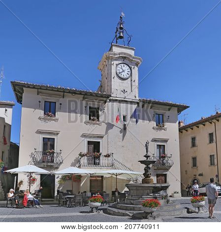 PESCOCOSTANZO ITALY - AUGUST 18 2015: town hall. The mountain village - about 1400 m above sea - Pescocostanzo in the region of Abruzzo Italy