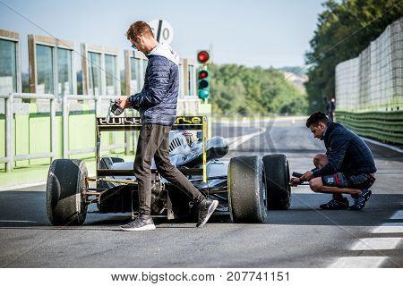 Vallelunga, Italy September 24 2017. Single Seater Formula Car On Circuit Pit Lane Exit