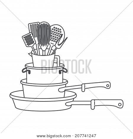 stewpan stack and kitchen utensils monochrome silhouette vector illustration