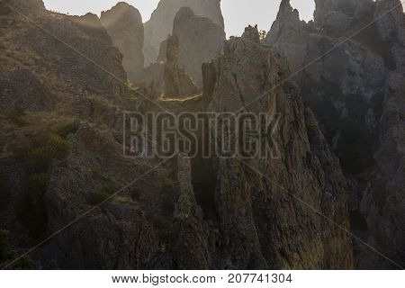 landscape of a famous rock formations, bays near the extinct volcano Karadag Mountain in KaraDag reserve in north-east Crimea, Black sea