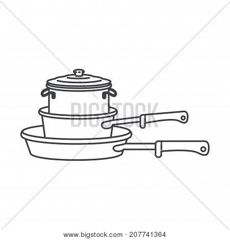 stewpan and cooking pot stack monochrome silhouette vector illustration