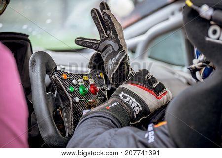 Vallelunga, Italy September 24 2017. Single Seater Motorsport Racing Car  Cockpit Detail