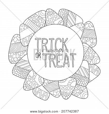 Candy corn vector coloring page. Trick or treat greeting card. Candy corn frame. Halloween coloring page. Sweet kernel with pattern. Halloween coloring book for children. Halloween sweets background