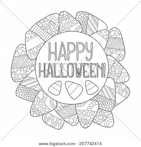 Candy corn vector coloring page. Happy Halloween greeting card. Candy corn frame. Halloween coloring page. Sweet kernel with pattern. Halloween coloring book for children. Halloween sweets background