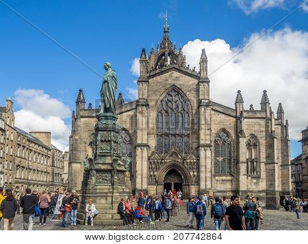 EDINBURGH, SCOTLAND - JULY 29: Looking towards St. Giles Cathedral on the Royal Mile on July 29, 2017 in Edinburgh, Scotland. St. Giles is a tourist attraction and first cathedral of Edinburgh.