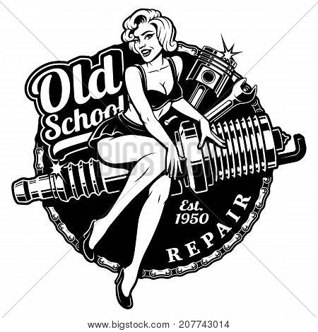 Spark Plug Pin Up Girl illustration with piston and wrench. Vintage style. (monochrome version) All elements text are on the separate layer.