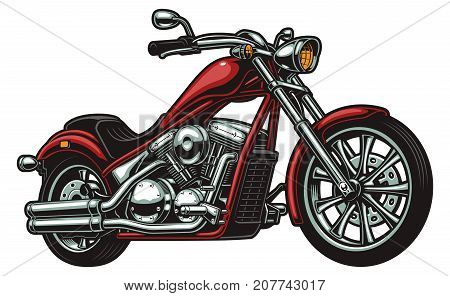 Vector coloured american  motorcycle on white background
