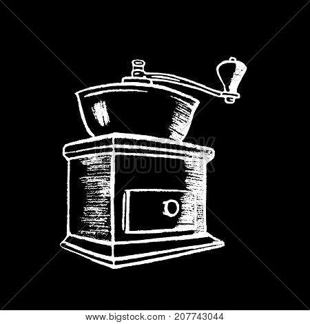 Coffee grinder white chalk on black chalkboard vector illustration. Classical vintage coffee grinder. Coffee mill logo by white chalk. Blackboard coffee grinder icon. Cafe or restaurant menu decor