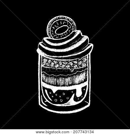 Dessert in glass white chalk on black chalkboard vector illustration. Tiramisu dessert in glass. Creamy dessert with cookie. Coffee beans in cream pie. Sweet snack for cafe menu. Dessert icon or logo