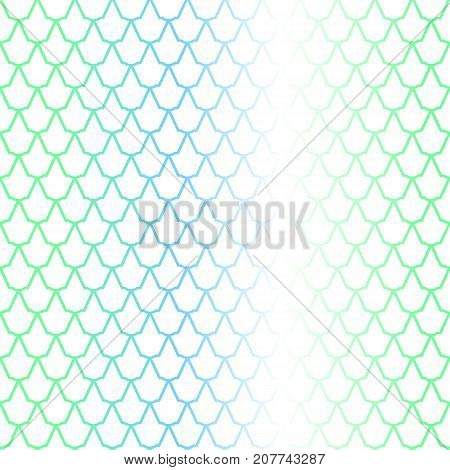 Blue green fish scale seamless pattern with colorful gradient. Fish skin vector background. Scale ornament. Mermaid pattern. Fish seamless pattern tile. Mermaid background. Gradient shiny fishscale