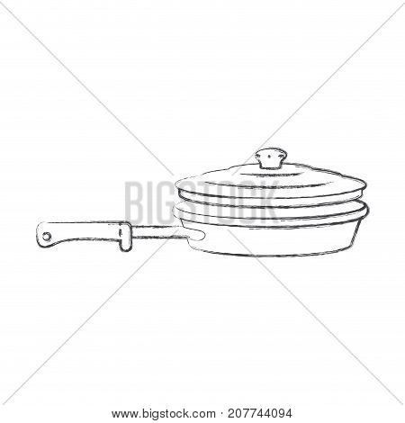stewpan with handle and lid monochrome blurred silhouette vector illustration