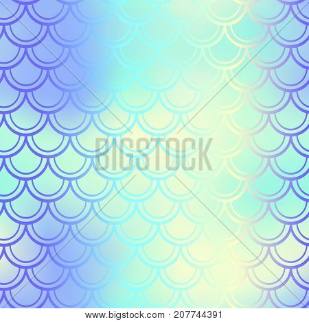 Fantastic fish skin vector background with scale pattern. Mermaid pattern. Pale gradient mesh. Abstract blurry vector background. Fish skin seamless pattern. Mermaid scale background. Shiny fishscale