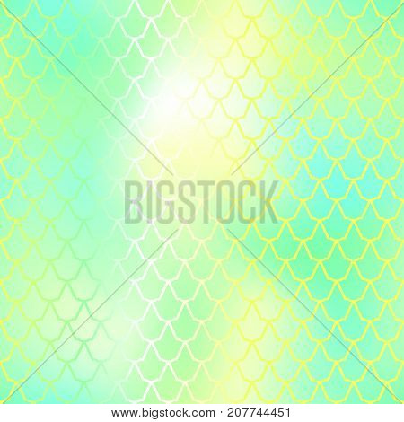 Fantastic fish skin vector background with scale pattern. Mermaid pattern. Green gradient mesh. Spring blurry vector background. Fish skin seamless pattern. Mermaid scale background. Vivid fishscale