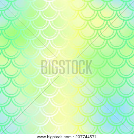 Fantastic fish skin vector background with scale pattern. Mermaid pattern. Spring gradient mesh. Abstract blurry vector background. Fish skin seamless pattern. Mermaid tail background. Vivid fishscale
