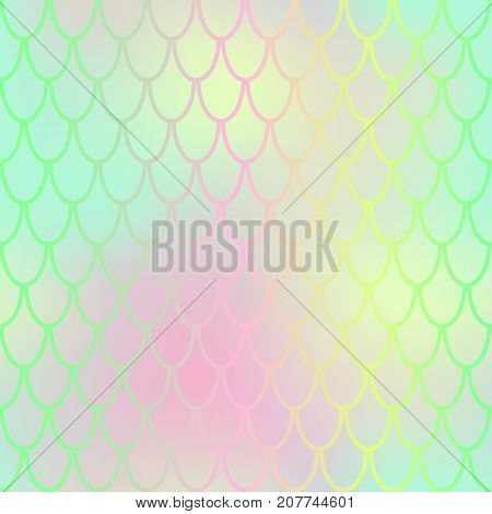 Fantastic fish skin vector background with scale pattern. Mermaid pattern. Pale gradient mesh. Abstract blurry vector background. Fish skin seamless pattern. Mermaid scale background. Green fishscale