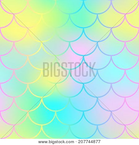 Fantastic fish skin pattern with scale ornament. Fishscale vector background. Vivid mermaid tail texture. Magic mermaid seamless pattern. Candy color pastel backdrop. Mermaid seamless pattern tile