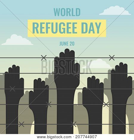 World Refugee Day, 20 June. Human hands near border fence conceptual illustration vector.