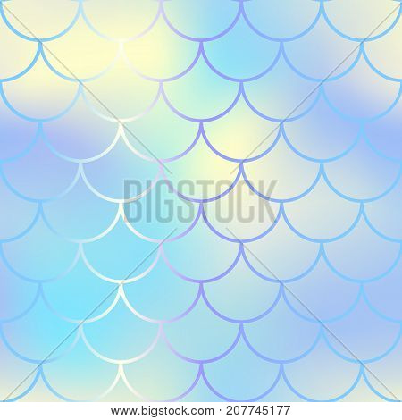 Aquatic fish skin pattern with scale ornament. Fishscale vector background. Pastel mermaid skin background texture. Magic mermaid seamless pattern. Blue and yellow gradient mesh seamless pattern tile