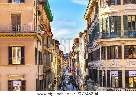 ROME, ITALY - JANUARY 20, 2917 Via Condotti Famous Shopping Street Rome Italy. Narrow street with many famous designer brands leads to the Spanish Steps on one end