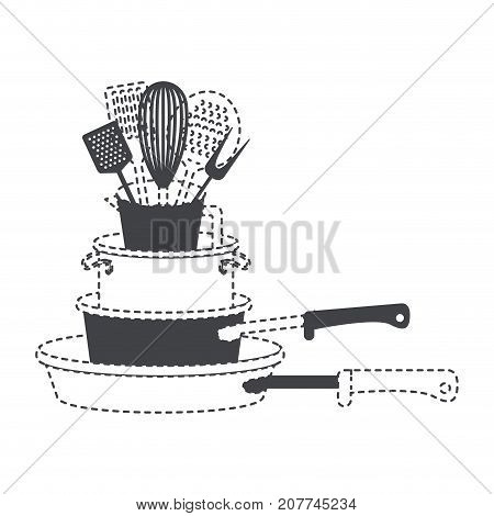 stewpan stack and kitchen utensils black silhouette and dotted contour vector illustration