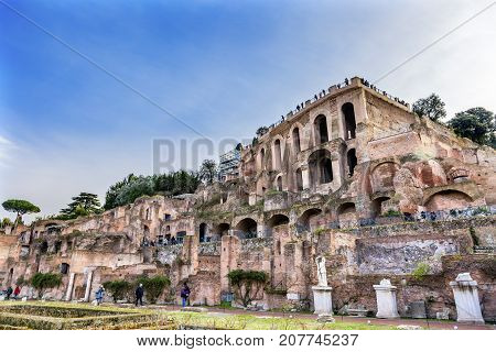 ROME, ITALY - JANUARY 19, 2917 Palantine Vestal Virgn House of the Vestal Virgins Roman Forum Rome Italy. Vestal Virgins were in charge of keeping the fire buring at the Temple of Vesta