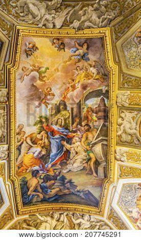 ROME, ITALY - JANUARY 20, 2917 Jesus Fresco Ceiling Santa Maria Maddalena Church Rome Italy. Church named for Saint Mary Magdalene built in the 16 and 1700s fresco by Carlos Fontana in 1700s