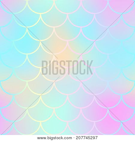Magic mermaid fishscale pattern. Abstract blurry vector background. Fantastic fish skin seamless pattern. Mermaid scale background. Pastel colors fish scale seamless tile. Yellow pink blurred mesh