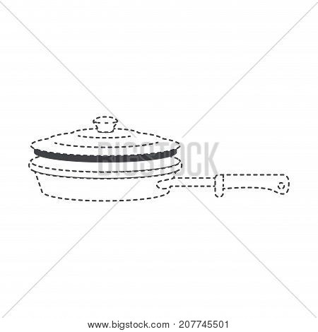 stewpan with handle and lid black silhouette and dotted contour vector illustration