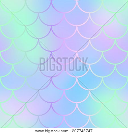 Magic mermaid fishscale pattern. Abstract blurry vector background. Fantastic fish skin seamless pattern. Mermaid scale background. Pastel colors fish scale seamless tile. Violet mint blurred mesh