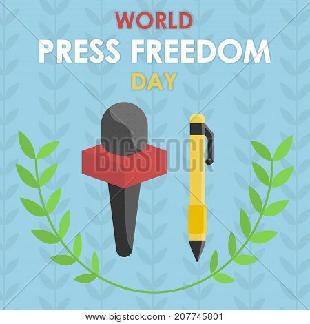 World Press Freedom Day, 3 May. Pen and mike conceptual illustration vector.