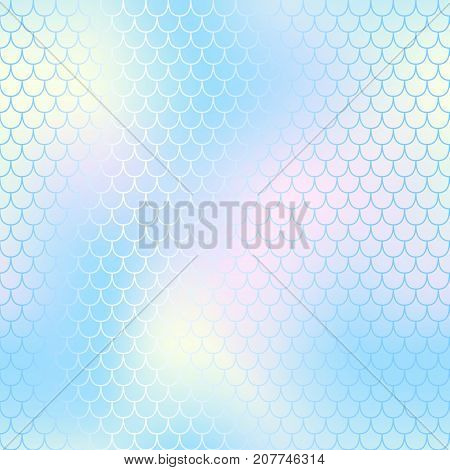 Mermaid skin or fish scale pattern. Pale blue yellow gradient mesh. Abstract blurry vector background. Fantastic fish skin seamless pattern. Romantic mermaid scale background. Pastel colors fish scale