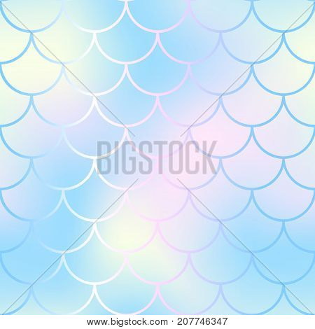 Mermaid skin or fish scale pattern. Pale yellow blue gradient mesh. Abstract blurry vector background. Fantastic fish skin seamless pattern. Romantic mermaid scale background. Pastel colors fish scale