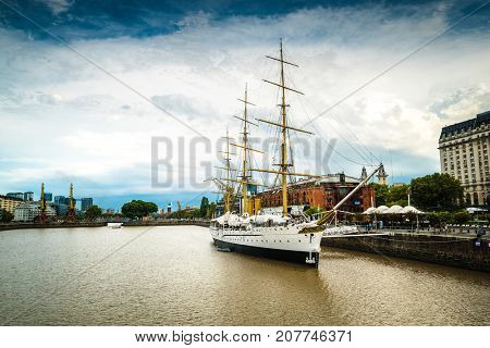 Buenos Aires - January 24, 2016: Museum Frigate Sarmiento President in Puerto Madero, Buenos Aires, Argentina on January 24, 2016
