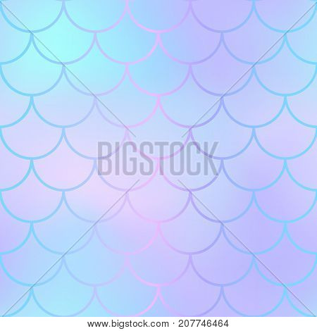 Mermaid skin or fish scale pattern. Pale mint violet gradient mesh. Abstract blurry vector background. Fantastic fish skin seamless pattern. Romantic mermaid scale background. Pastel colors fish scale