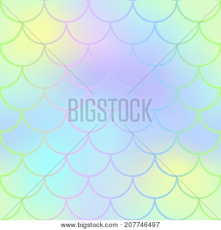 Mermaid skin or fish scale pattern. Yellow violet gradient mesh. Abstract blurry vector background. Fantastic fish skin seamless pattern. Romantic mermaid scale background. Pastel colors fish scale