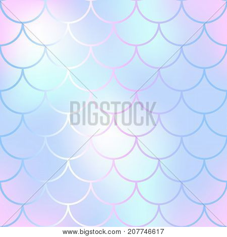 Mermaid skin or fish scale pattern. Pink mint white gradient mesh. Abstract blurry vector background. Fantastic fish skin seamless pattern. Romantic mermaid scale background. Pastel colors fish scale