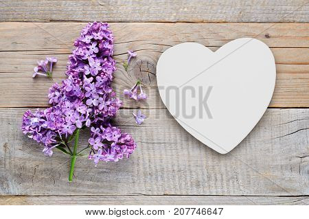 Lilac flowers and white heart on old wooden background