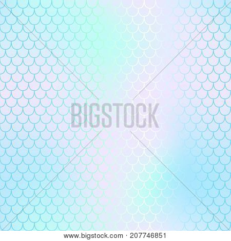 Mermaid skin or fish scale pattern. Pale pink cyan gradient mesh. Abstract blurry vector background. Fantastic fish skin seamless pattern. Romantic mermaid scale background. Pastel colors fish scale