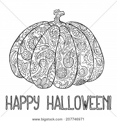 Halloween coloring page with ornamented pumpkin. Happy Halloween vector illustration. Pumpkin with paisley and flower pattern. Hand-drawn illustration for Halloween. Halloween pumpkin for coloring
