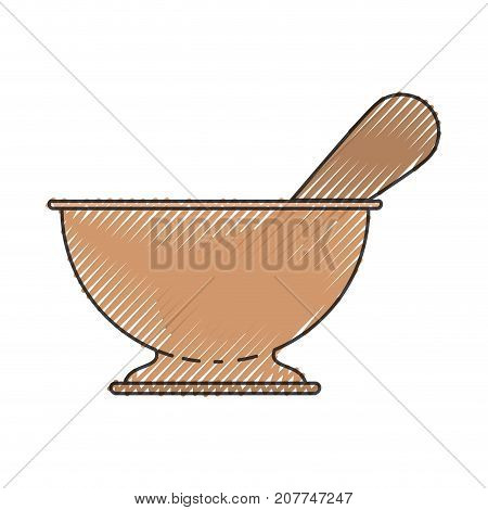 kitchen bowl utensil colored crayon silhouette vector illustration
