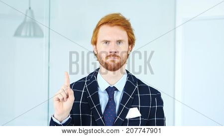No, Redhead Businessman Rejecting Offer By Waving Finger, Denial