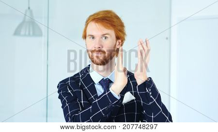 Clapping Man With Red Hairs, Applauding For Team