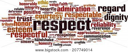 Respect word cloud concept. Vector illustration on white