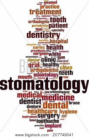 Stomatology word cloud concept. Vector illustration on white
