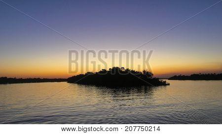Sunset at Zambezi River in Zimbabwe, Africa
