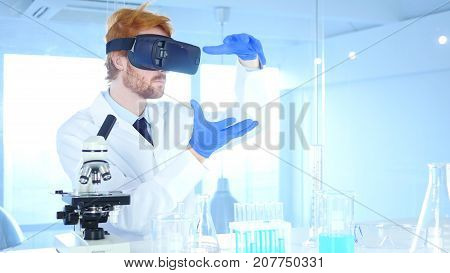 Scientist Using Virtual Reality Glasses For Research And Imagination In Laboratory, Vr Goggles